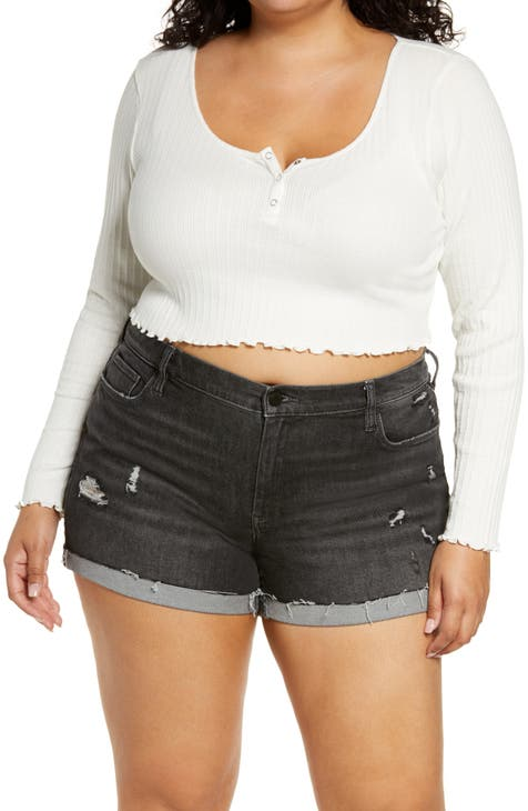 BP. Long Sleeve Henley Crop Top