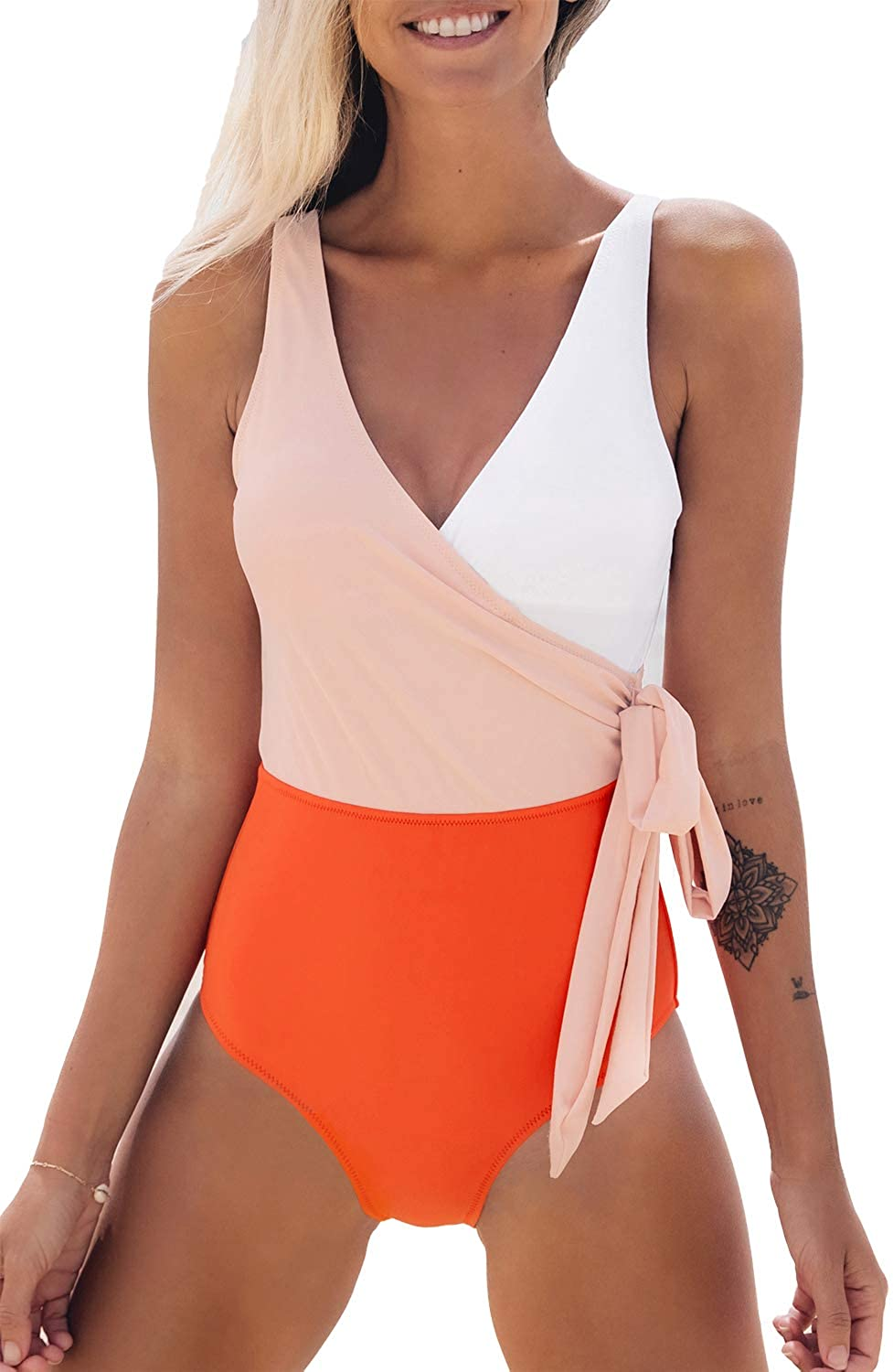 CUPSHE Wrap Color Block Tie Side Bathing Suit