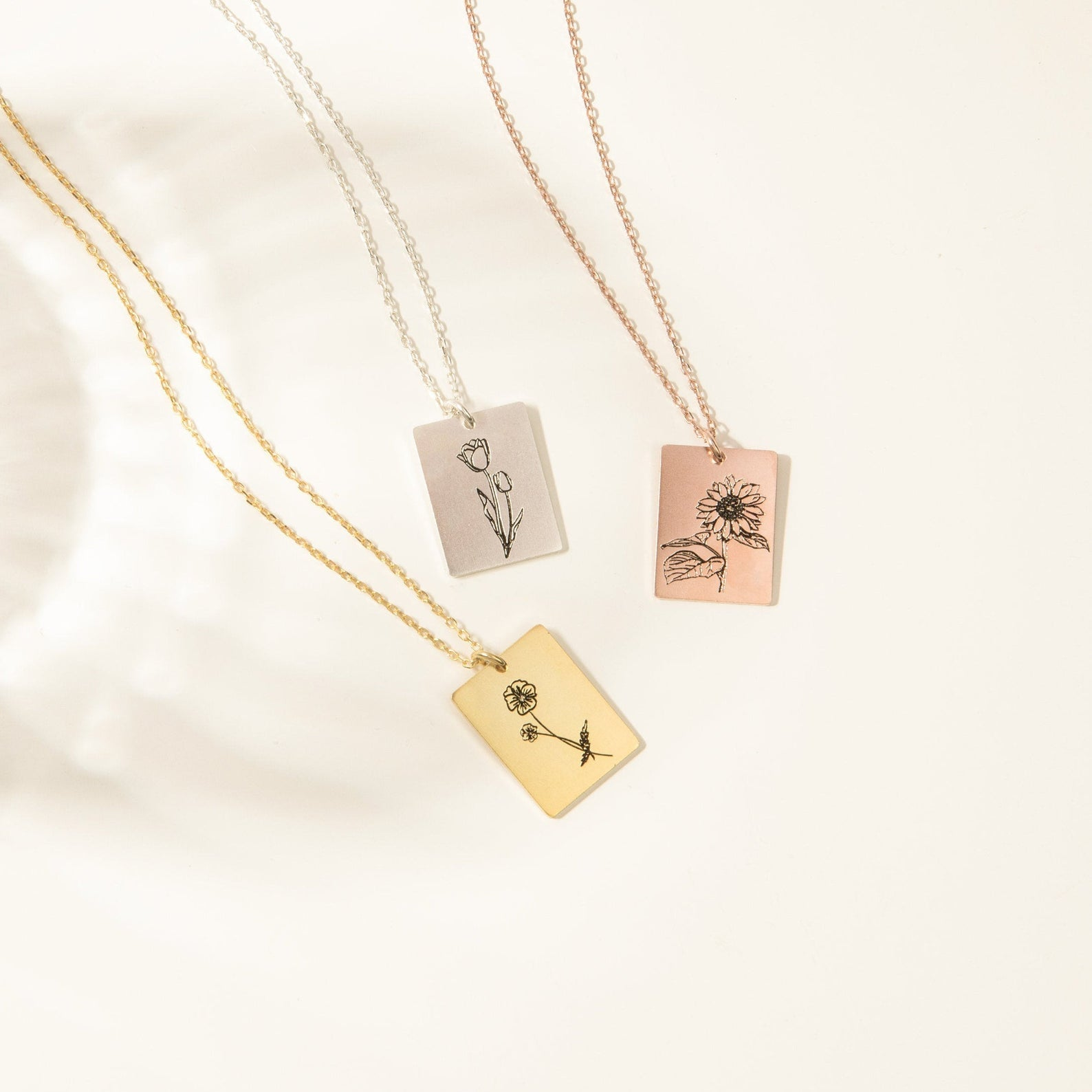 Caitlyn Minimalist Floral Tag Necklace