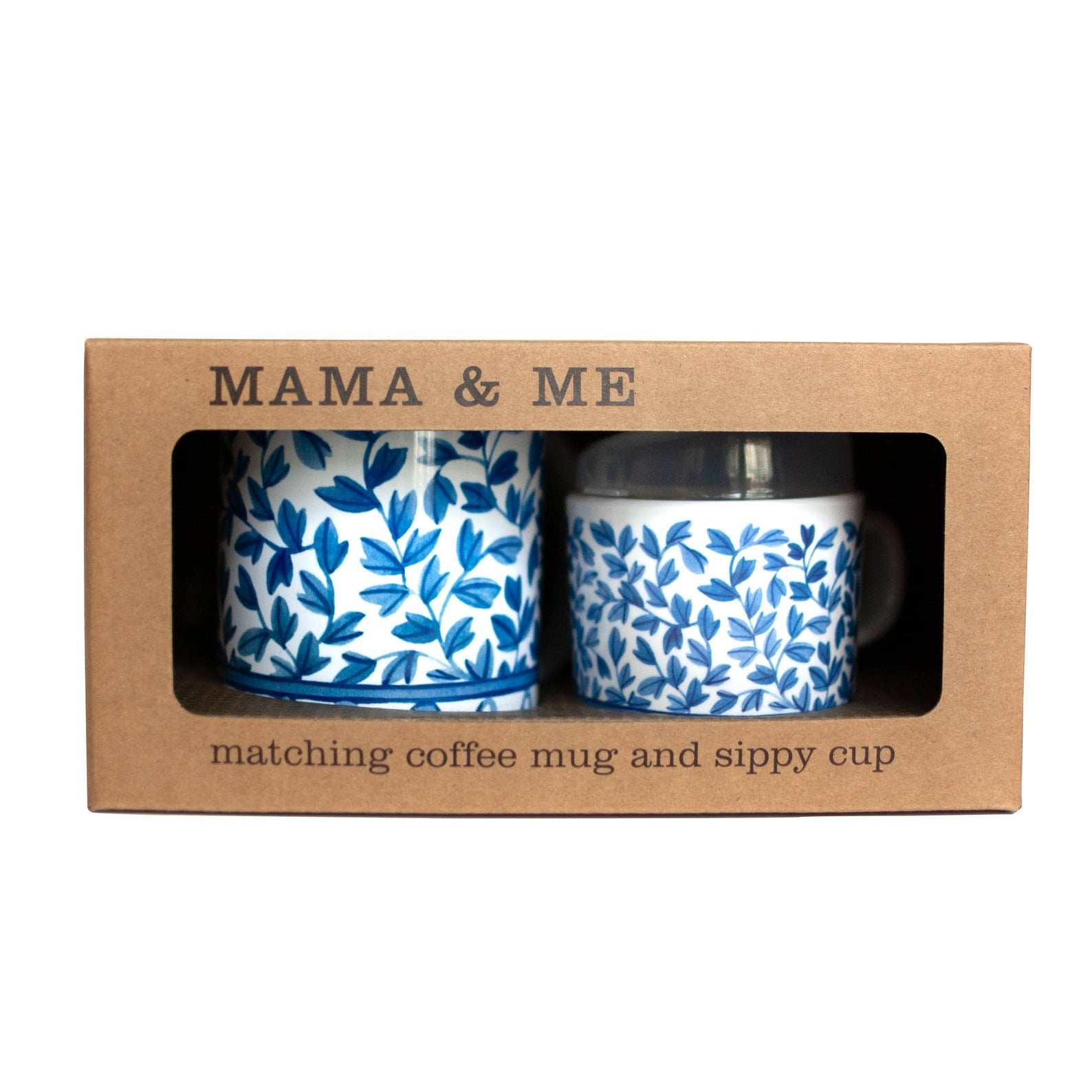 Helmsie Baby Mama and Me Blue and White Matching Mug and Sippy Cup Set