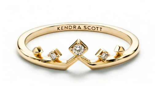 Kendra Scott Michelle 14k Yellow Gold Band Ring In White Diamond