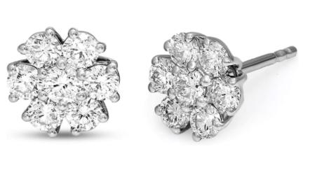 Friendly Diamonds IGI Certified 1 Carat 7 Stone Diamond Stud Earrings