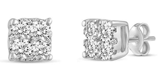 Fifth and Fine 1.00 Cttw Cushion Diamond Stud Earrings