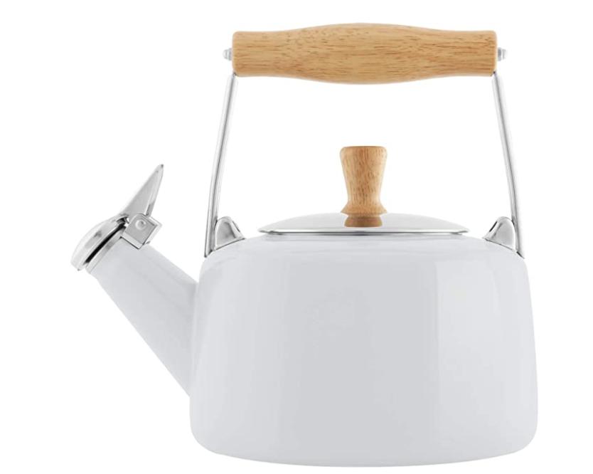 Chantal Sven Enamel on Steel Whistling Teakettle, 1.4 quarts, Glossy White