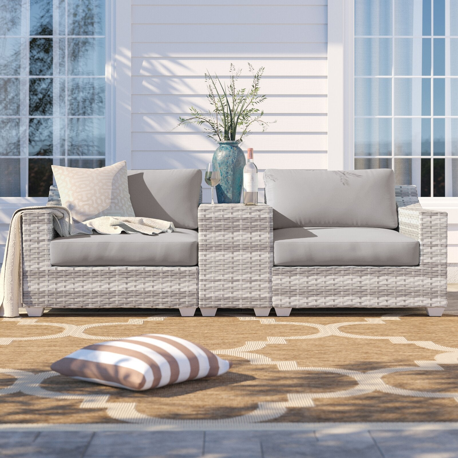 Sol 72 Outdoor Falmouth 3 Piece Rattan Seating Group with Cushions