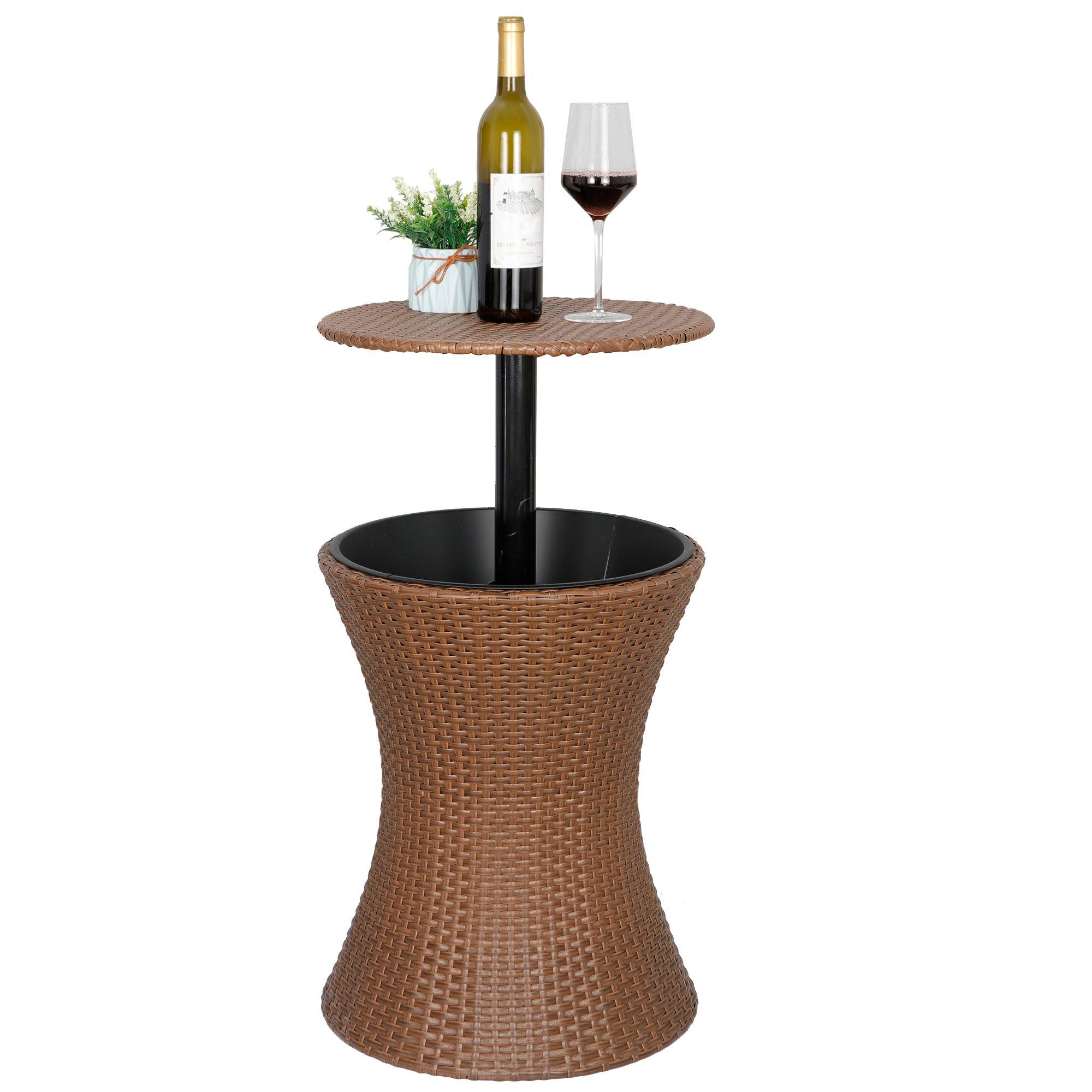 Segawe Wicker Barstools Rattan Cooler Bar Table
