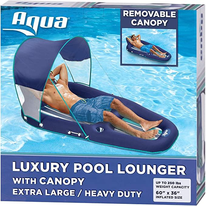 Aqua Inflatable Pool Float with UPF 50 Sunshade Canopy