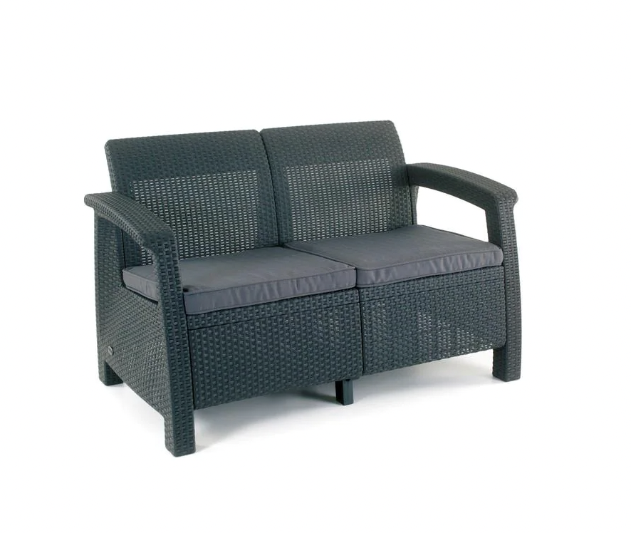 Corfu Charcoal All-Weather Resin Patio Loveseat with Grey Cushion