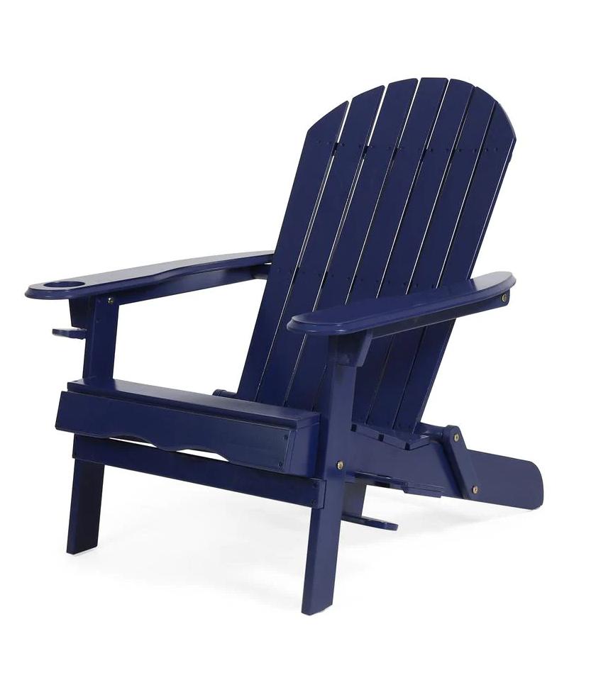 Lissette Navy Blue Foldable Wood Adirondack Chair
