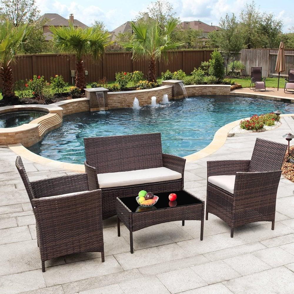 Vineego 4 Pieces Outdoor Patio Furniture Sets