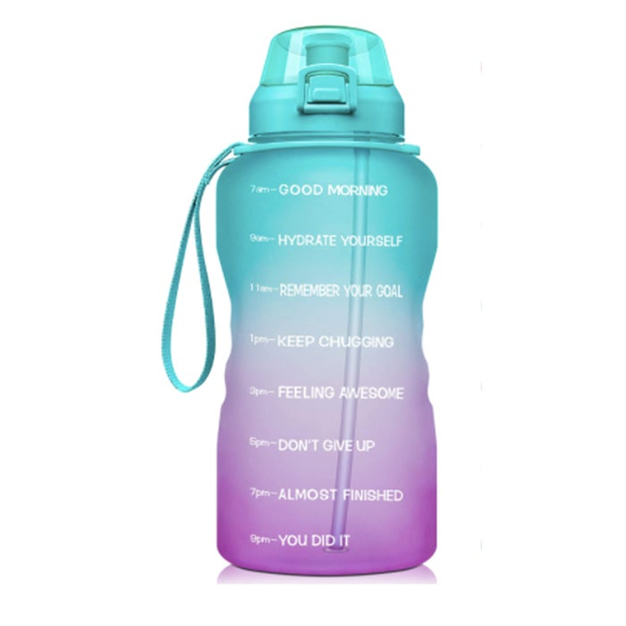 Fidus Large 1 Gallon Motivational Water Bottle with Time Marker and Straw