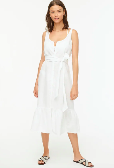 J.Crew Cotton-Linen Button-Front Midi Dress