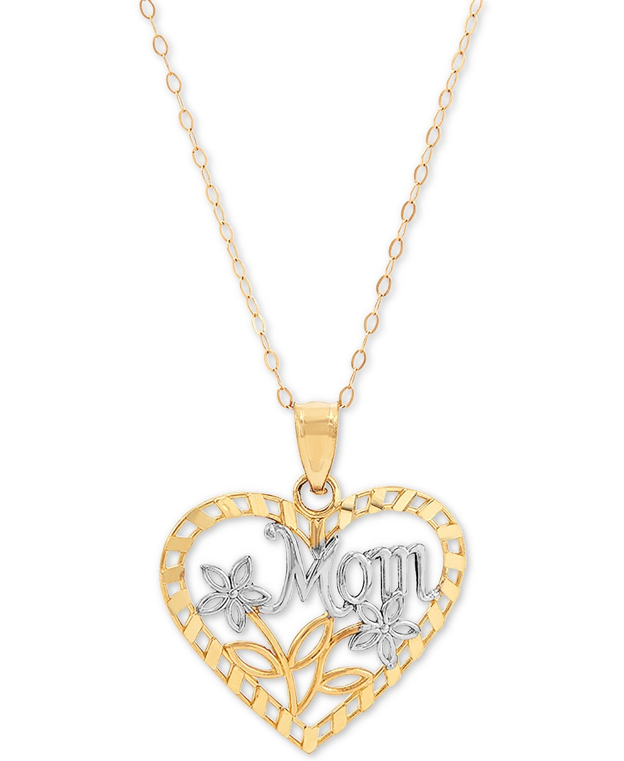 "Macy's Mom Heart 18"" Pendant Necklace in 10k Gold"