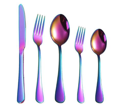 VEDXTO Rainbow Titanium Silverware Set for 8