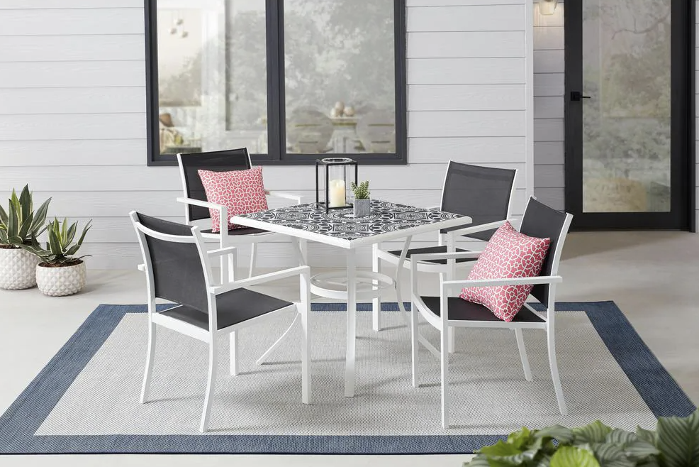 Marivaux Black and White 5-Piece Steel Outdoor Patio Dining Set