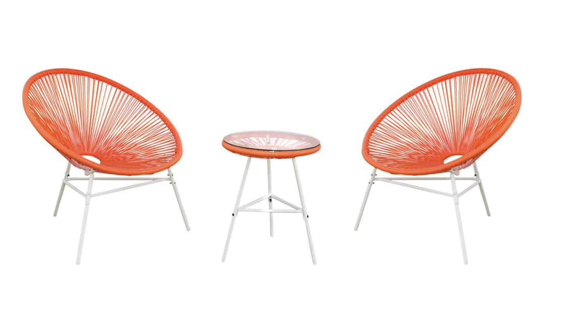 Classic Acapulco Chair Orange Red 3-Piece Wicker Outdoor Bistro Set