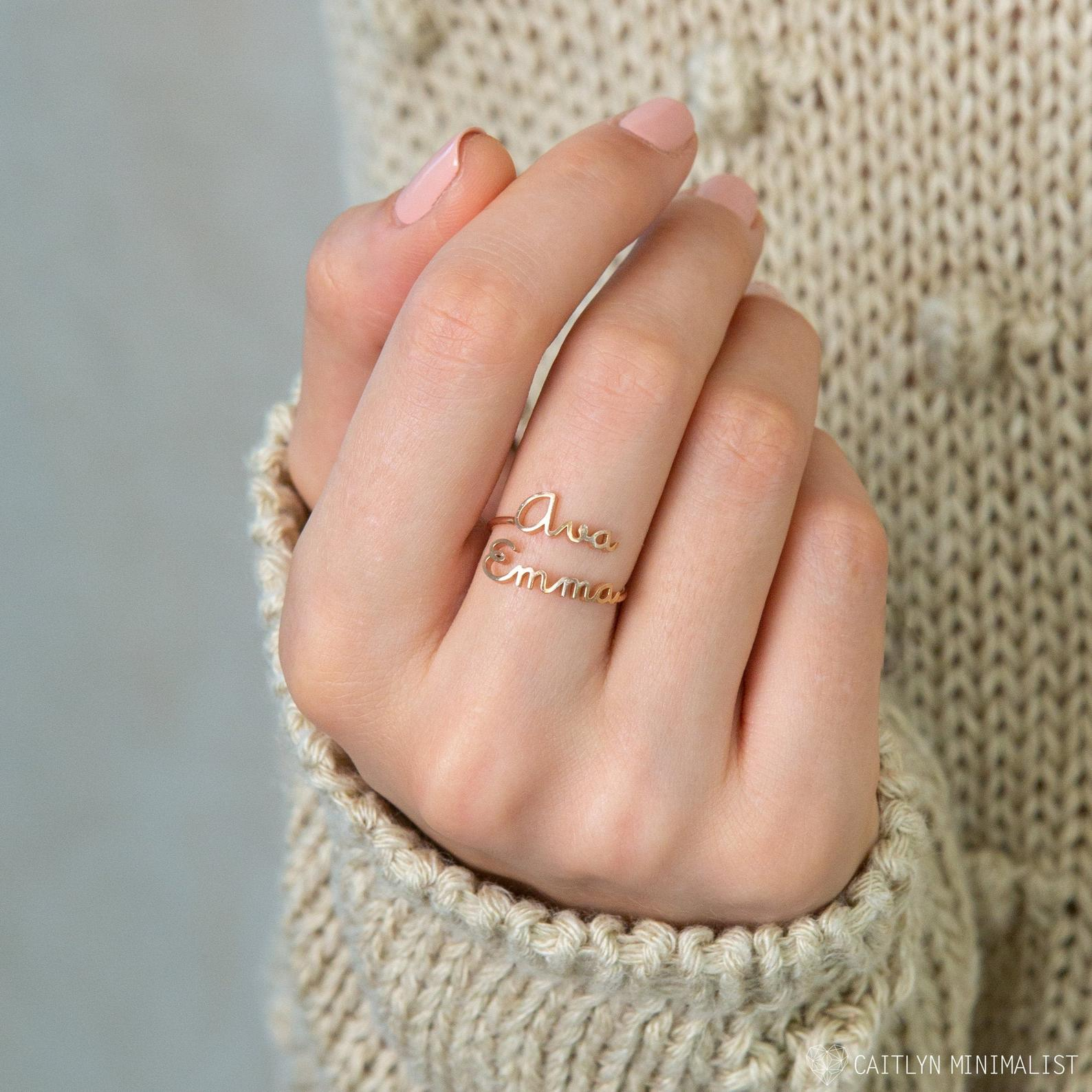CaitlynMinimalist Two Name Ring Double Name Ring in Sterling Silver, Gold and Rose Gold