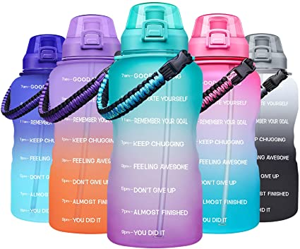 Giotto Large 1 Gallon Motivational Water Bottle with Paracord Handle & Straw