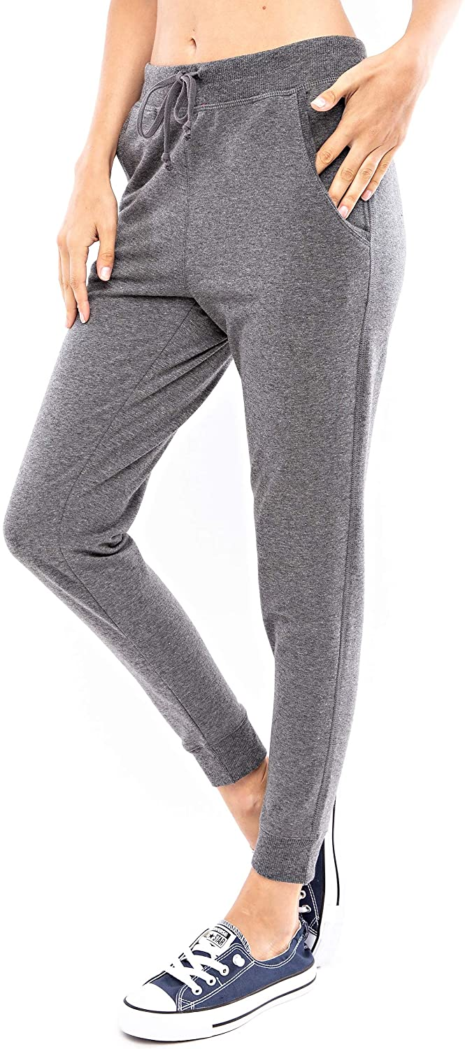 Another Day Women's Casual Slim French Terry Jogger Sweatpants with Side Pockets