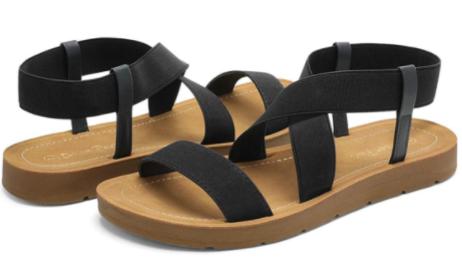 DREAM PAIRS Elastic Ankle Strap Summer Flat Sandals