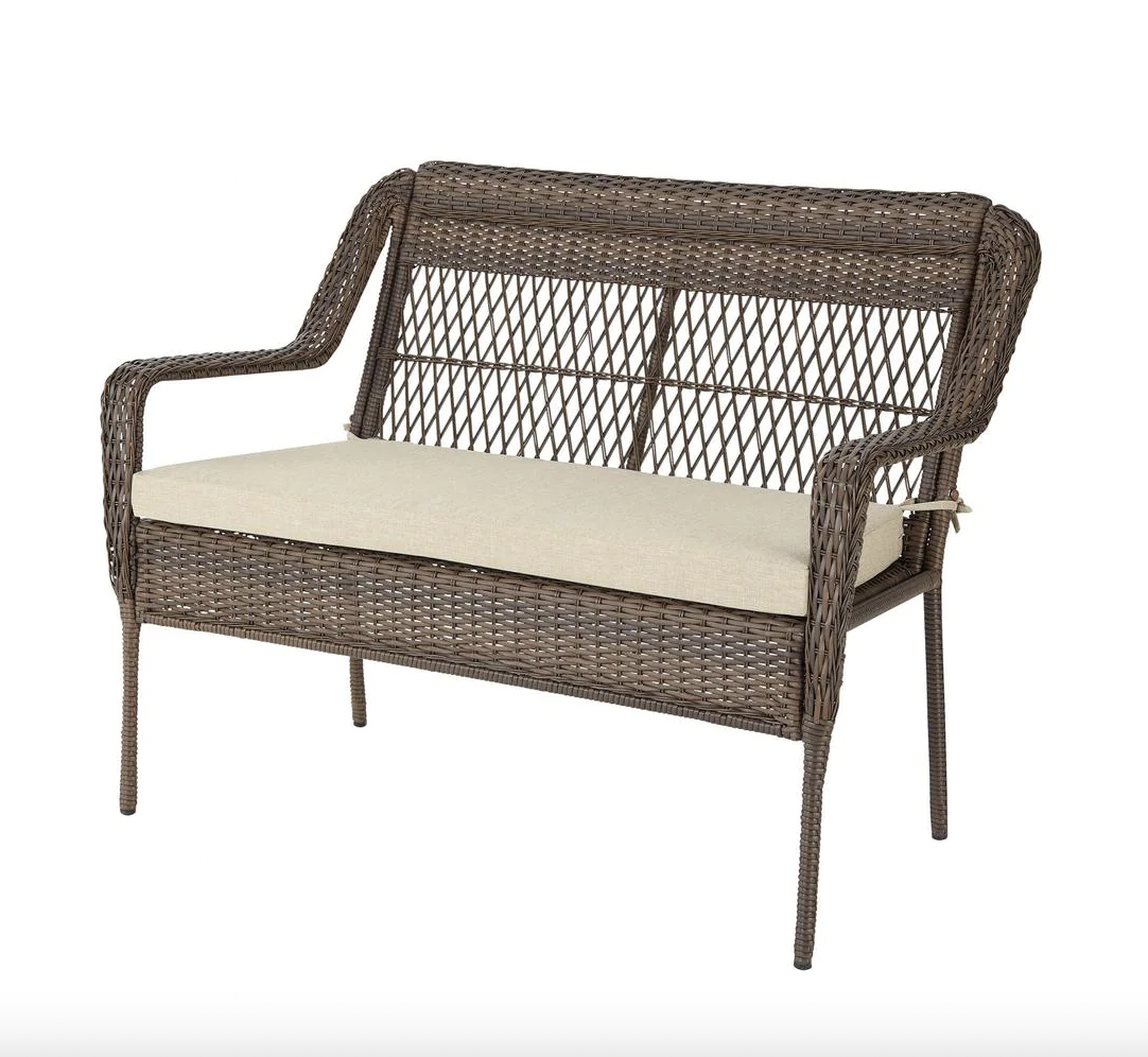 Stylewell Mix and Match Outdoor Patio Loveseat with Putty Tan Cushions