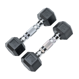 Tru Grit Fitness 5LB (Pair) Rubber Encased Hex Dumbbell Weight With Welded Metal Handles