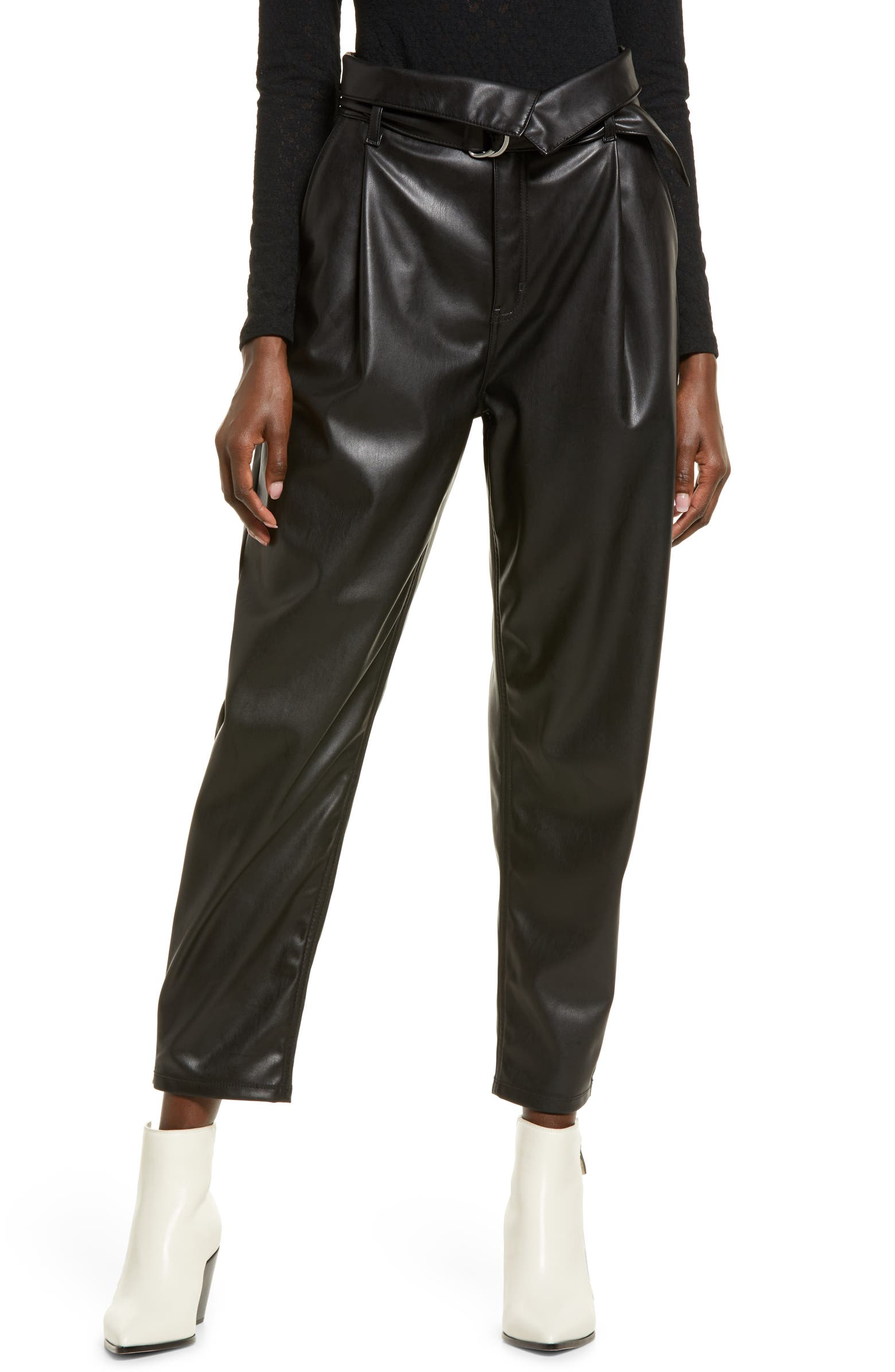 Open Edit Faux Leather Trousers