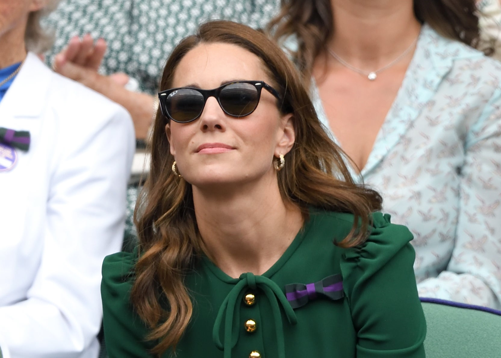 Catherine, Duchess of Cambridge in the Royal Box on Centre Court during day twelve of the Wimbledon Tennis Championships in Wayfarer Sunglasses