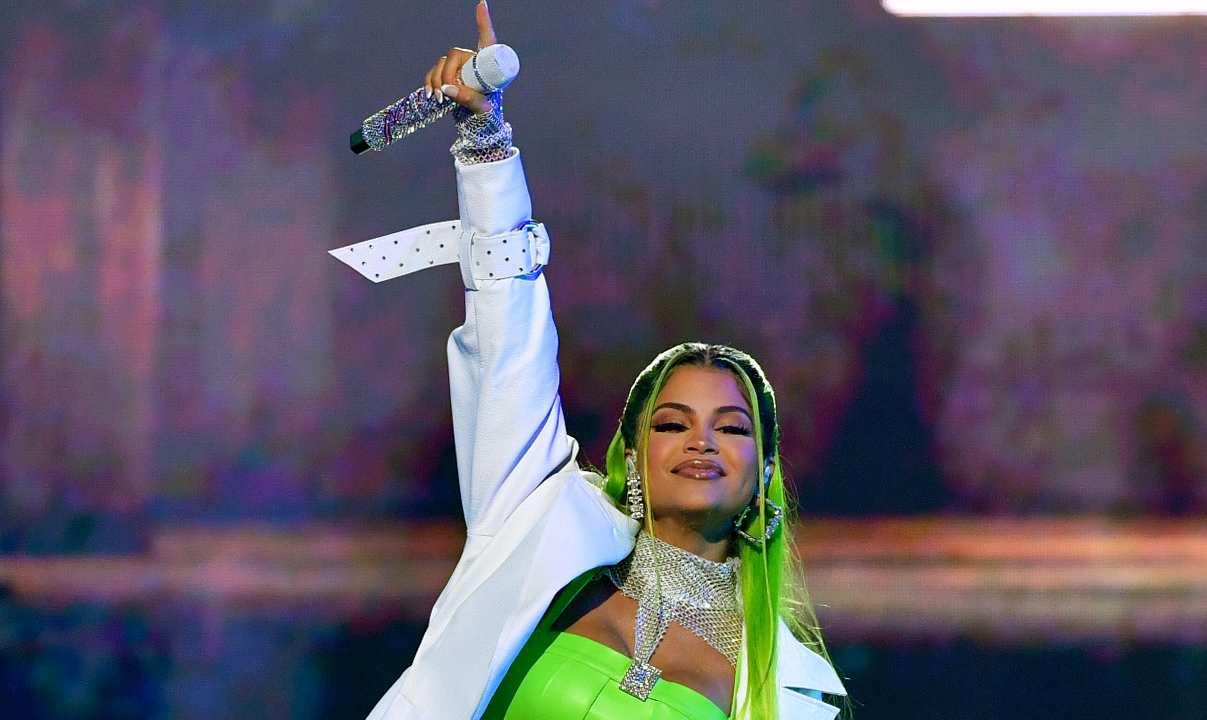 Natti Natasha performs onstage at Premios Juventud 2021 at Watsco Center on July 22, 2021 in Coral Gables, Florida.