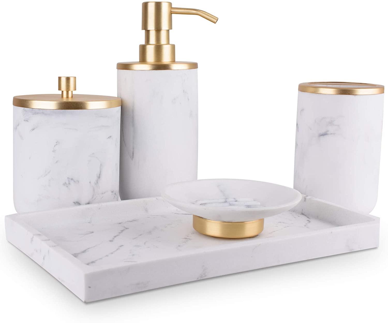 L'MKI Marble 5 Piece Bathroom Accessories Set