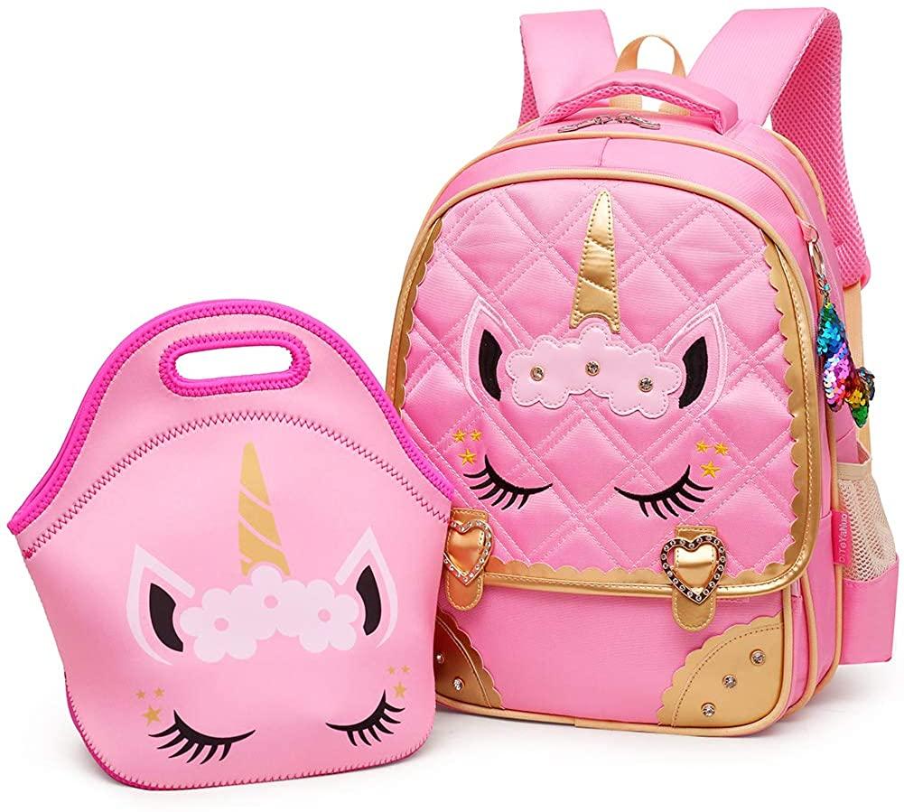 Moonmo Unicorn Princess School Backpack Set