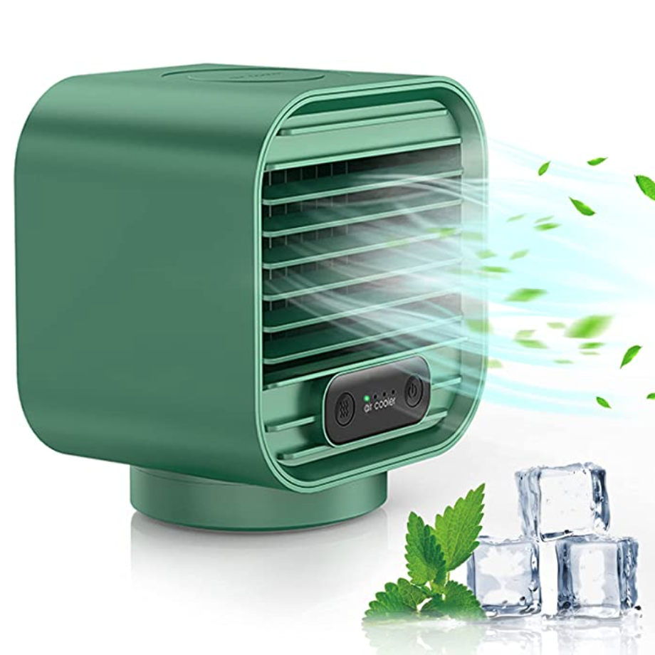 Portable Air Conditioner, Zarcdo 3in1 Personal Air Cooler, 2000mAh Rechargeable Mini Desktop Mobile Cooling Fan Small Evaporative Cooler Adjustable 3 Speeds for Home, Office, Room, Camping - Green.png