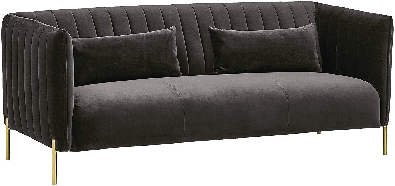 Rivet Frederick Mid-Century Channel Tufted Velvet Sofa