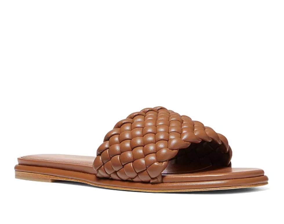 Michael Kors Women's Amelia Square Toe Woven Slide Sandals