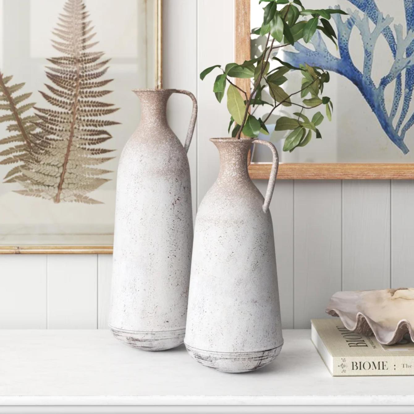 2 Piece Randel Tan Metal Table Vase Set