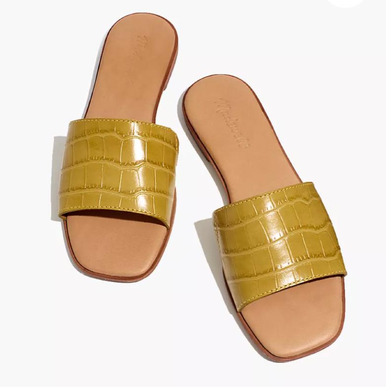 Croc leather slides