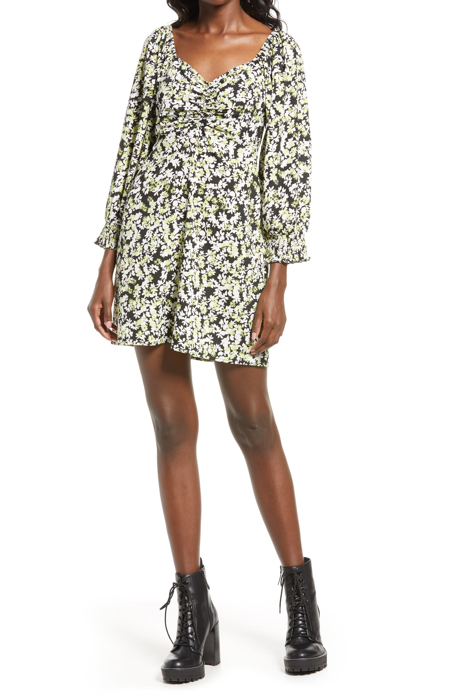Vero Moda Chaddie Floral Long Sleeve Ruched Minidress