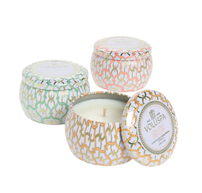 Voluspa Maison Blanc Mini Tin Candle Trio