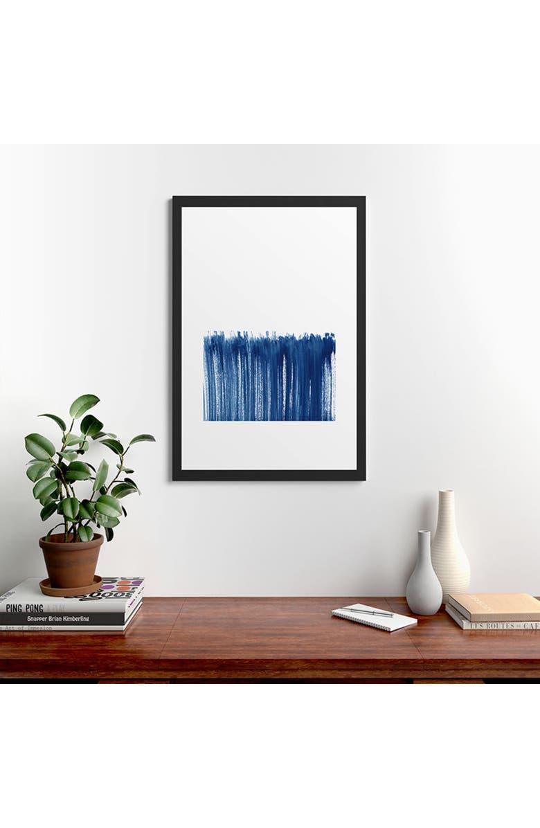 Indigo Abstract Brush Strokes Framed Wall
