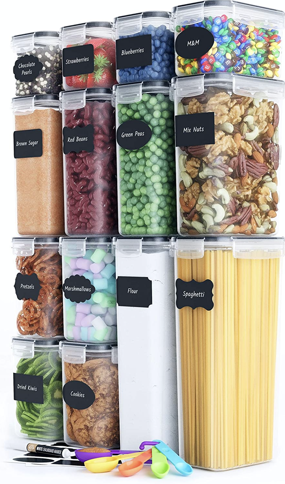 Chef's Path Airtight Food Storage Containers Set [14 Piece] - Kitchen Pantry Organization and Storage, BPA-Free, Plastic Canisters with Durable Lids