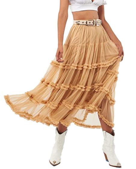 Seta Apparel Crown Tulle Midi Skirt