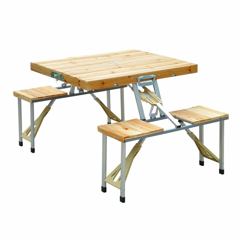 Arlmont & Co. Galvan Rectangular 4-Person 55'' Long Picnic Table