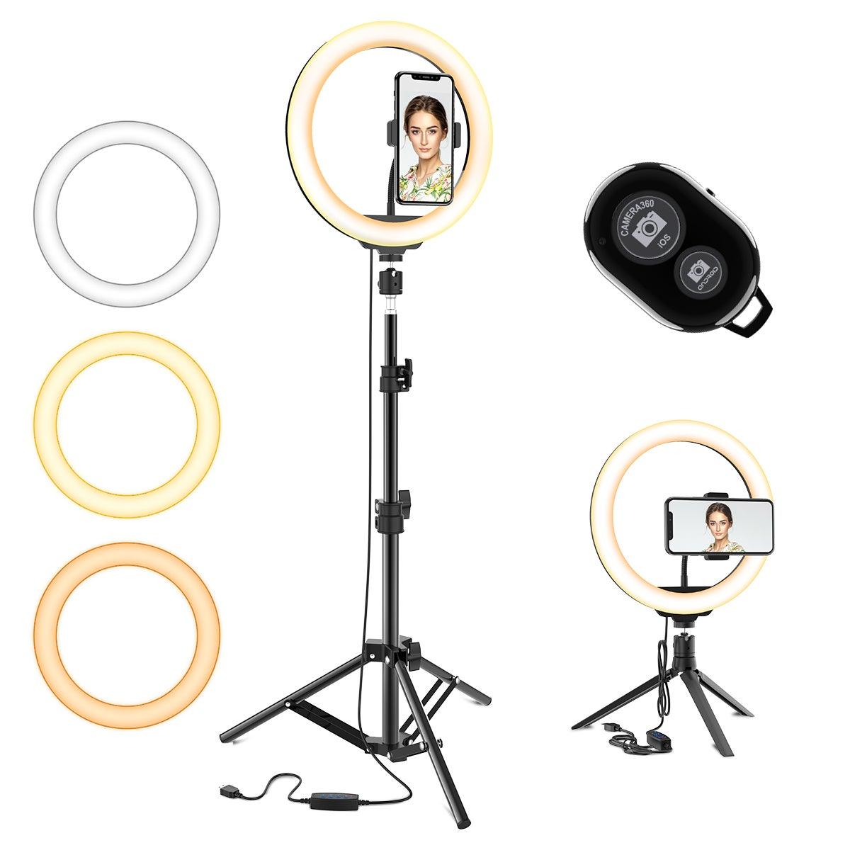 10.2 Selfie Ring Light w/ Tripod Stand & Phone Holder