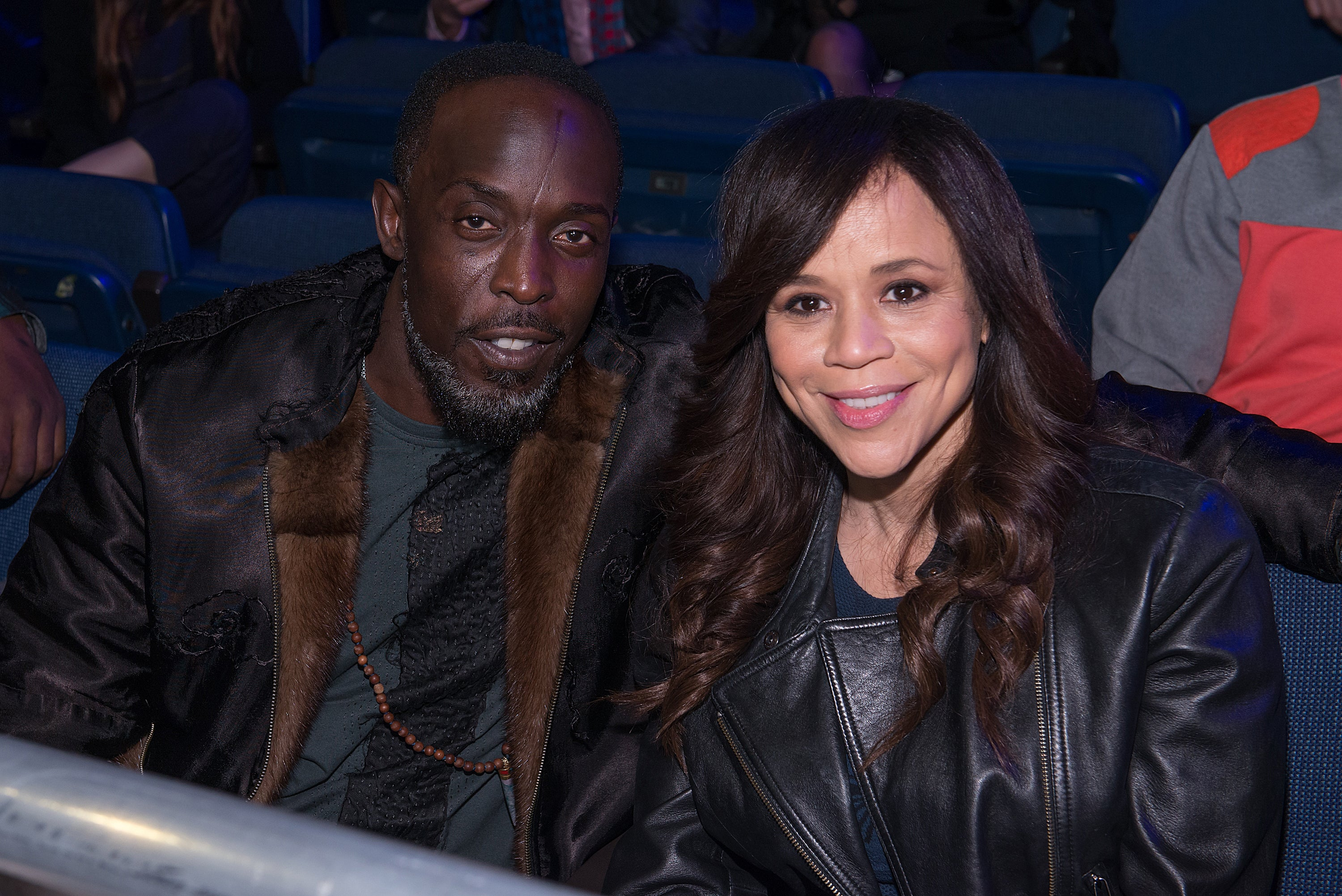 Actors Michael K. Williams and Rosie Perez attend 2015 Throne Boxing at The Theater at Madison Square Garden on January 9, 2015 in New York City.
