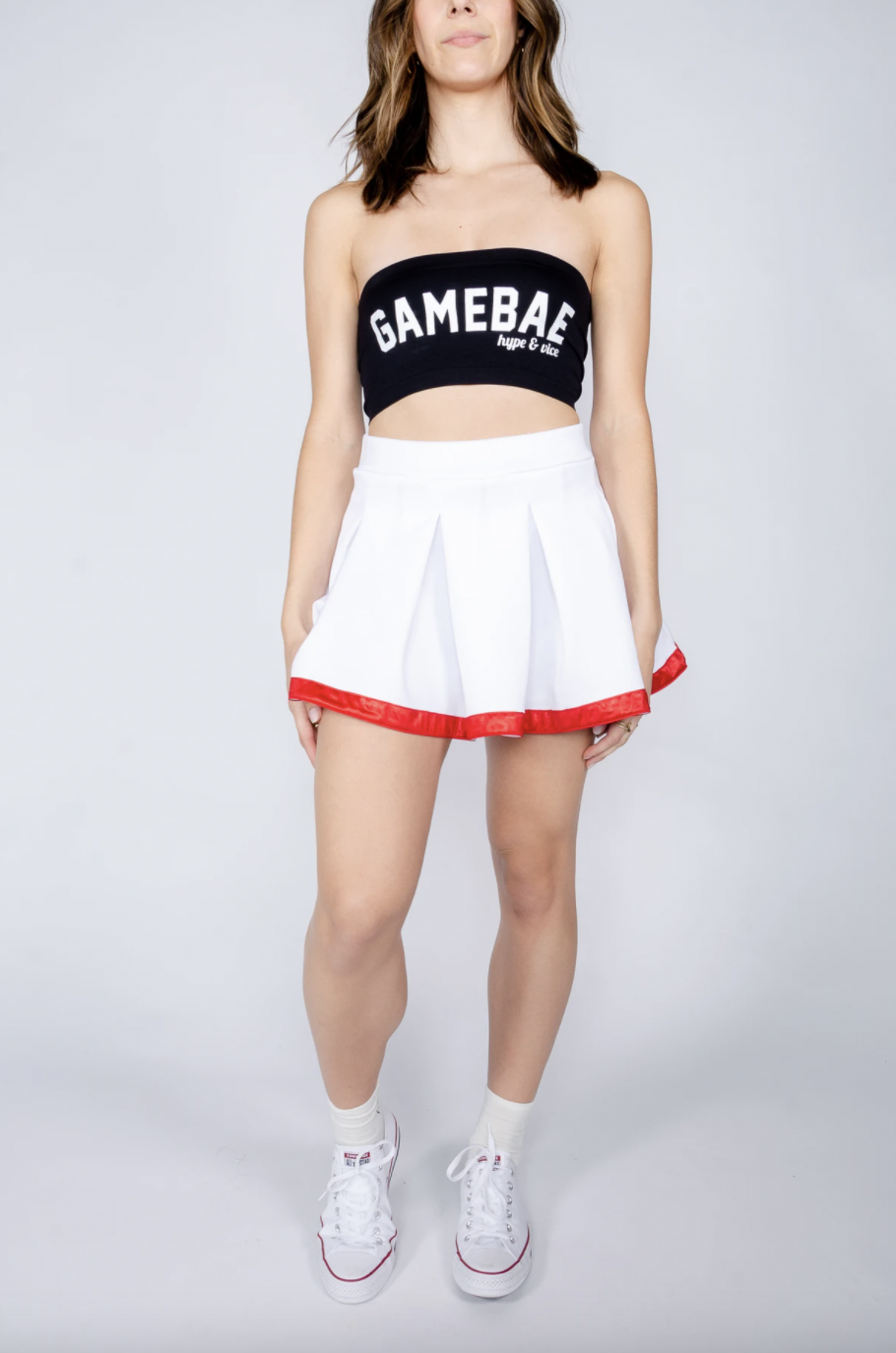 Hype and Vice White and Red Tailgate Skirt