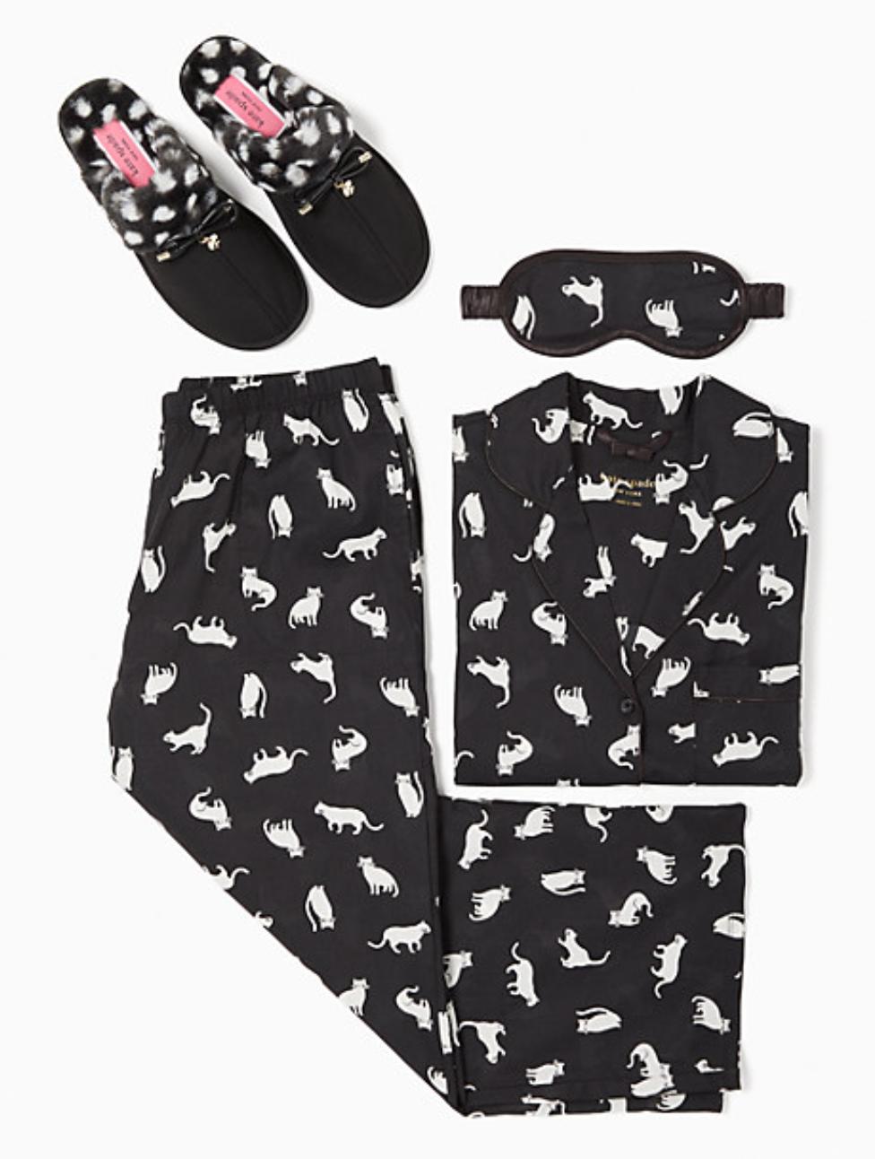 Kate Spade Cat Crop PJ & Slippers Bundle