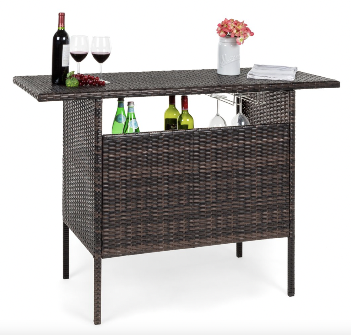 Best Choice Products Outdoor Patio Wicker Bar Counter Table