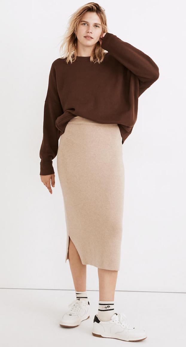 Madewell Brookhaven Midi Sweater Skirt
