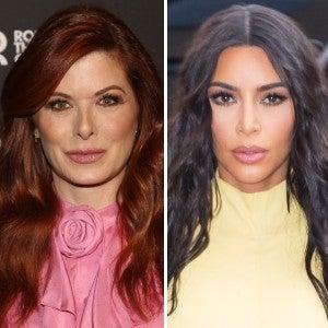 Debra Messing and Kim Kardashian