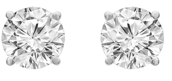 LA4VE 14K White Gold Round-cut Diamond Stud Earring